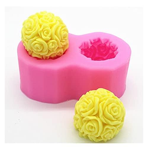 Ziyi 3D Rose Balls Forma Stampo Aroma Candela Gypsum Stampo Decorazione Fatta a Mano Decorazione Craft Candela Mousse Mousse Muffa Fai da Te Strumento in Silicone