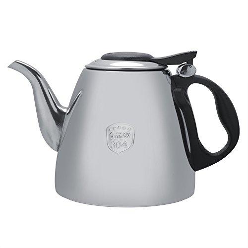 Tetera cafetera de acero inoxidable, capacidad grande, calefacción rápida, estufa, tetera con mango resistente al calor para la oficina,casa (1.5L)