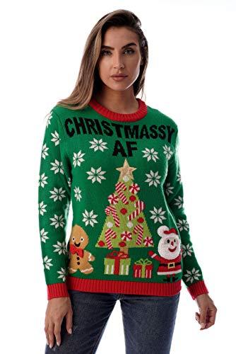 Suéter feo de Navidad para mujer #Folleto, Verde - Navidad Af, XL