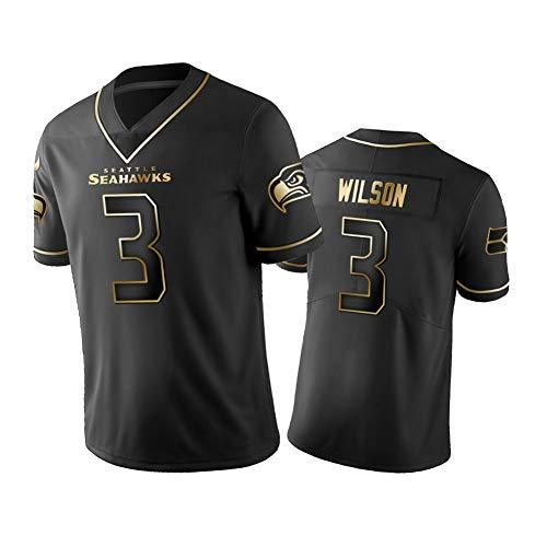 NCGD Russell Wilson 3# Seattle Seahawks Herren Rugby Trikot American Football Training Shirts Fans Sportswear S-XXXL Gr. M, farbe