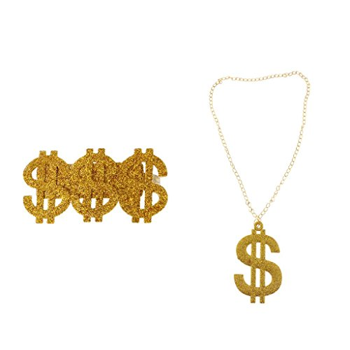 F Fityle Collana d'oro Punk Dollar US Jewelry Set Hip Hop Rapper 80s Costume
