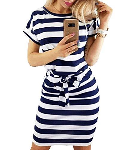 YEEKA Dresses for Women Striped Elegant Short Sleeve Casual Pencil Dress with Belt Dark Blue