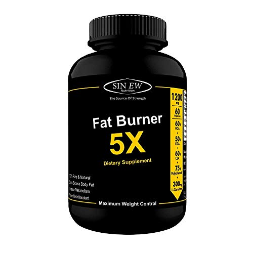 Sinew Nutrition Natural Fat Burner 5X (Green Tea, L-Carnitine, CLA, Green Coffee & Garcinia Cambogia Extract) - 1200 mg (60...