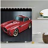 daimin PVC Cars Duschvorhang Automobile Vintage Cars Antike alte rote Autos Rustikale maschinenwaschbare Duschvorhang 180X200cm mit Haken