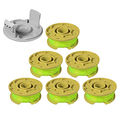 "Eyoloty 11ft 0.080"" Replacement Trimmer Spool for Ryobi One Plus AC80RL3 18v 24v and 40v Cordless Trimmers Line Refills Weed Wacker Auto-Feed Twist Single Line Parts (6 Pack+1 Cap)"