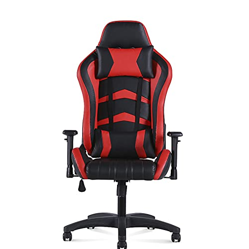 Silla de juegos, silla de oficina, respaldo alto, silla de escritorio, de cuero, ergonómica, ajustable, giratoria, con reposacabezas y soporte lumbar, color rojo