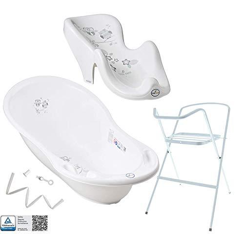 Tega Baby ® Baby Badewanne mit Gestell und Verschiedene Sets mit Babybadewannen + Ständer + Abfluss + Badewannensitz 0-12 Monate | ergonomisch Neugeborene, Motiv:Eule - weiß, Set:4 Set