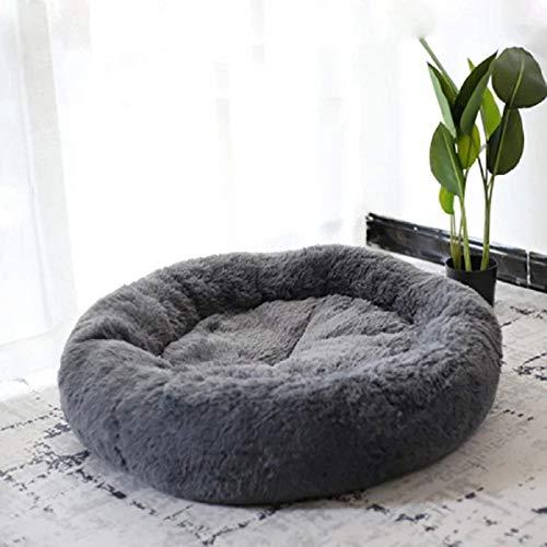 Lrhps Haustier-Bett für Katzen und Hunde, Super Soft Kissen rund oder oval Donut Nisthöhle Bett schläft Bett für Pet Katzen und Welpen,Schwarz,XL:80 * 80