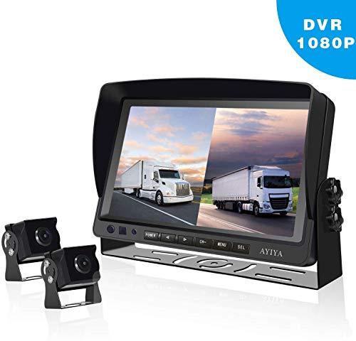 """Dual Recording Rückfahrkamera-Set, mit 9"""" Split IPS LCD Kfz-Monitor, 2 * 175° Weitwinkel – Rückfahrkameras, HD Farbe Nachtsicht, für LKW/Anhänger/Bus/Van/Landwirtschaft(12-35 Volt)"""