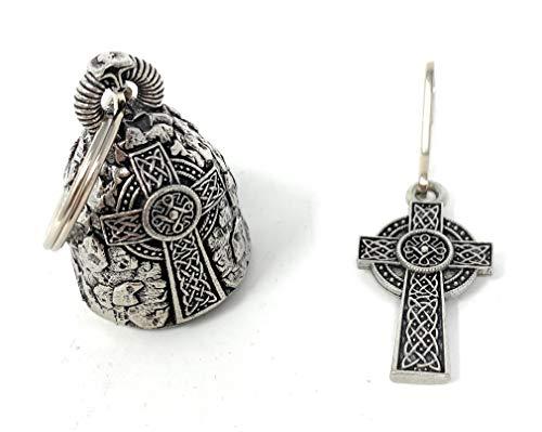 Bravo Bells - Celtic Cross Bell with Matching Celtic Cross Zipper Pull - 2 Piece Set - to Bestow Good Luck for Bikers