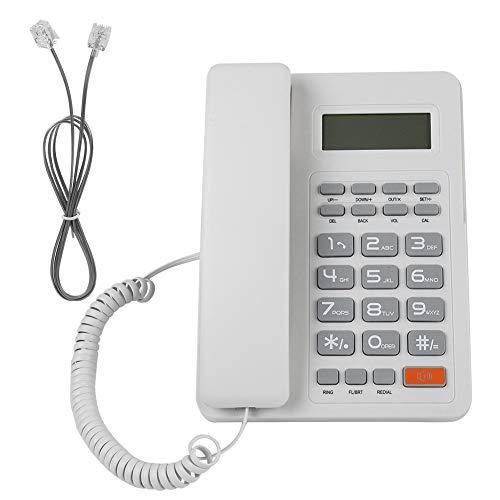 Bewinner Teléfonos Fijo con Cable Alimentados por Línea Telefónica - Sistema DTMF/FSK Dual, Función de Flash Conveniente y Fácil de Usar-Teléfono Fijo con Automática Identificación de Llamada