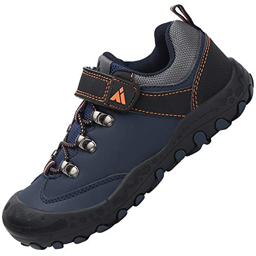 Kinder Schuhe für Jungen Freizeitschuhe Atmungsaktiv Flach Sportschuhe Mädchen Weich Hallenschuhe Flexibel Joggingschuhe rutschfeste Wanderschuhe, Blau 34