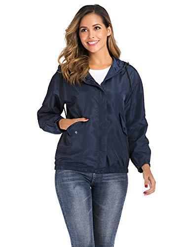 Enjoyoself Leichte Regenjacke Wasserdihct Kurze Windbreaker Zip Jacke Dünne Wetterjacken für Outdoor,2-Navyblau,XXL