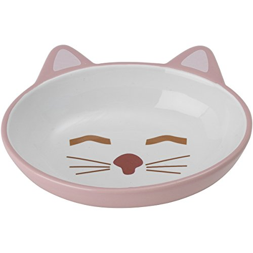 PetRageous 70658 Oval Here Kitty Stoneware Cat Bowl 5.5-Inch Wide and 1.5-Inch Tall Saucer with 5.3-Ounce Capacity and Dishwasher and Microwave Safe is Great for Cats, Pink