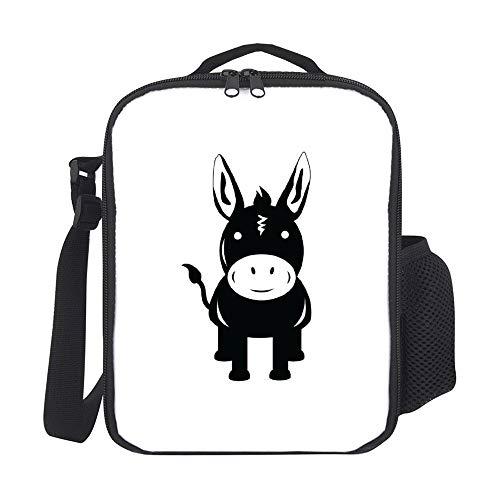 Bolsas de almuerzo aisladas para niños con soporte para botella Burro negro a la moda grande lonchera para hombres adultos reutilizable bolsa de preparación de comidas para trabajo, escuela, picnic
