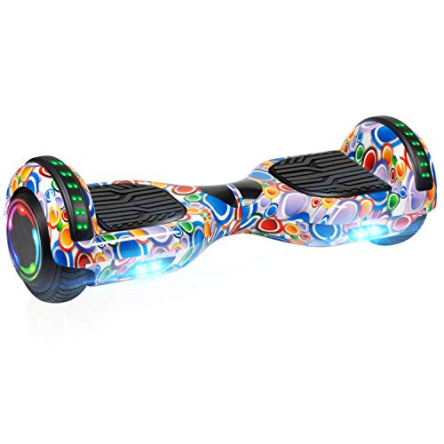 UNI-SUN Bluetooth Hoverboard for Kids, 6.5' Two-Wheel Self Balancing Hoverboard with Bluetooth and LED Lights, Electric Scooter for Adult, Colorful Bubbles