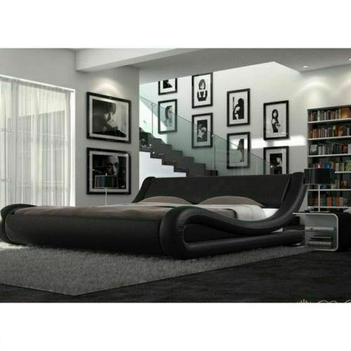 Lune Beds 5FT King Size Volo Italian Modern Leather Bed Frame With Ortho Reflex Foam Mattress - Black