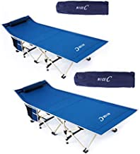 Nice C Folding Camping Cot, Sleeping Bed, Tent Cot, with Pillow, Carry Bag & Storage Bag, Extra Wide Sturdy, Heavy Duty Holds Up to 500 Lbs, Lightweight, Comfortable for Outdoor&Indoor(Set of 2 Navy)