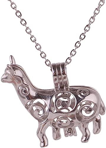 banbeitaotao Blunt Silver Copper Oveja Animal Beads Pearl Cage Aromaterapia Aceite Esencial Difusión Collar de Caja y Cadena de Acero Inoxidable Popular