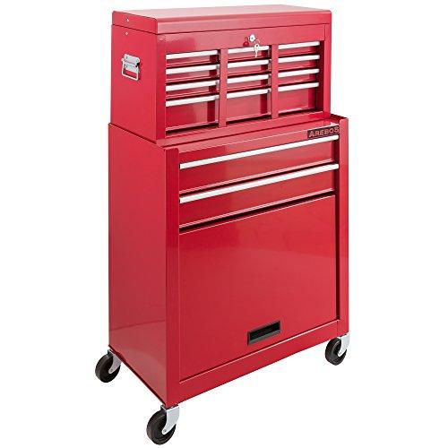Arebos Werkstattwagen 9 Fächer rot (✓ zentral abschließbar, ✓ Abnehmbarer Werkzeugkasten, ✓ Massives Metall) - 2