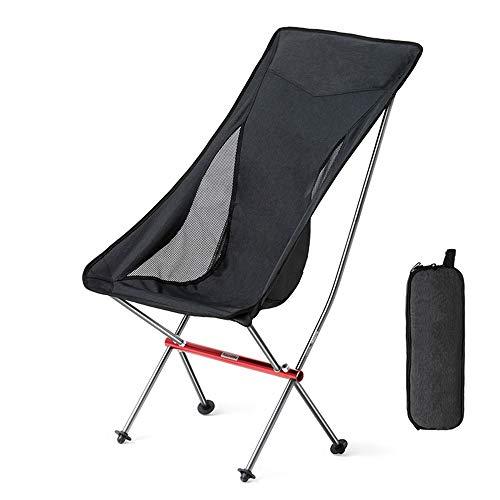 Silla plegable ultraligera portátil, silla de playa para acampar de pesca, respaldo cómodo, soporte de aleación de aluminio grueso, cojinete de 300 kg, para senderismo, picnic, barbacoa, asiento
