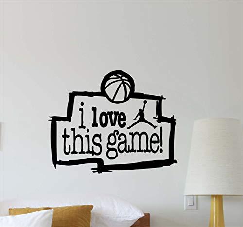 pegatina de pared 3d pegatina de pared frases Amo este juego Nba Cita Baloncesto Gift Sticker Poster para la habitación de los niños de la guardería