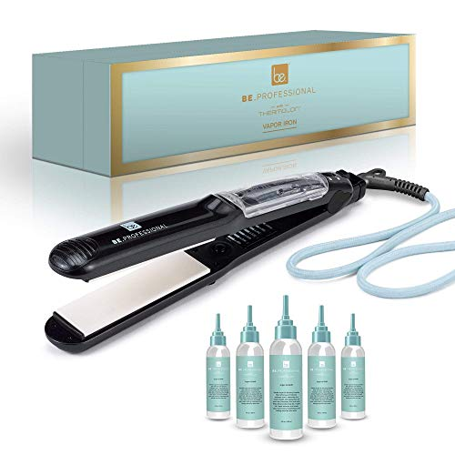 "Be Professional Vapor Hair Straightener Flat Iron for Hair 1.25"" Ceramic Premium Argan Infusion Steamliner - Dual Voltage Straightening Irons with Argan Refill Bundle (5X)"
