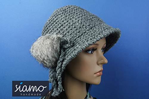 Winter-Hut MARLENE dunkelgrau meliert mit Fellbommel Glockenhut Cloche Häkelhut von siamo-handmade