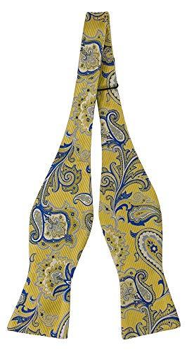 Notch Ungebundene Fliege aus Seide für Herren - Großes blau-gelbes Blumenmuster in Paisleyart