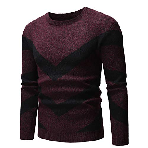 Pull Homme à Tricoté Automne Hiver Col Rond Chandail Casual Lâche Pullover Top Manches Longues Haut Sweater Pas Cher Sweat-Shirt Roiper