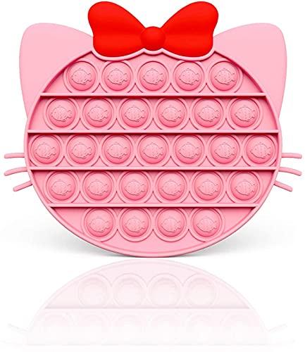 Young & Ming Push Bubble Fidget Toy Giocattoli Silicone Sensoriali per Autismo Ansia Sollievo Giocattolo Antistress Gioco del Cervello per Bambini Adulti (Gatto Rosa)