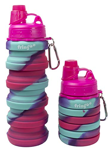 Fringoo - Stylish Collapsible Water Bottle For Kids With Carabiner Clip |...