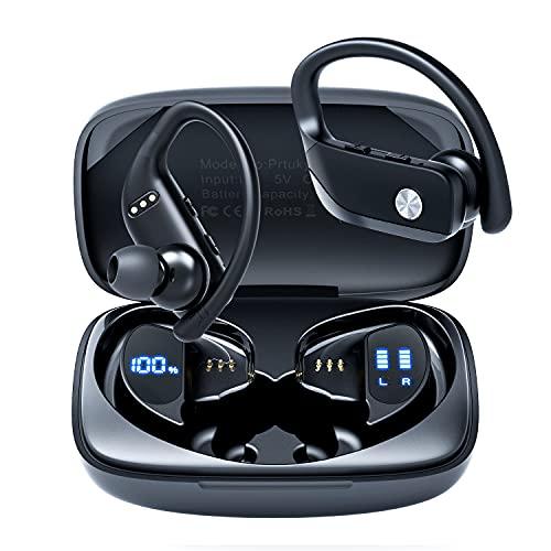 Écouteurs sans Fil, Casque de Sport Bluetooth 5.0 Basse Profonde Supérieure Écouteurs Intra-Auriculaires 48 Heures Durée de Lecture avec Boîte de Charge pour Sport Course Entraînement Gymnase