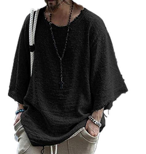 Camiseta Holgada para Hombre Hippie Cotton Linen O-Neck tee Shirts