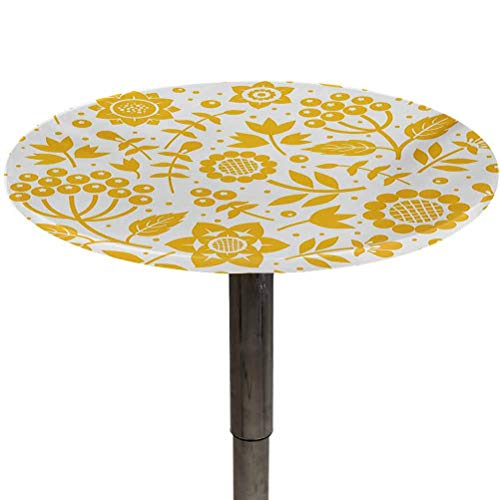Table Cloth Round Yellow Flower Patio Table Cover Rustic Composition with Berries Twigs Graphic Flora Nature Leaves Pattern for Travel,Christmas,Picnics,Parties and Outdoor Yellow White Diameter 54'