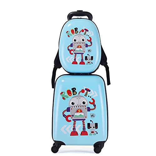 SHJKL 2Pc 12 '' 18 '' Conjunto De Maleta De Mano De Los Niños, Dibujos Animados Linda Suitcase Pequeña, Niño Y Niña con Ruedas Mochilas Carretilla De Viaje Escolar Equipaje,Robot