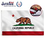 Jetlifee California State Flag 3x5 Ft 3 Layers Double Sided Embroidered Sewn Stripes and Brass Grommets Best 3 x 5 Foot USA Flag and California Flag for Outside