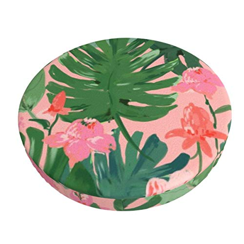 Round Bar Stools Cover,Tropisches Blumenkorallenrosa,Stretch Chair Seat Bar Stool Cover Seat Cushion Slipcovers Chair Cushion Cover Round Lift Chair Stool