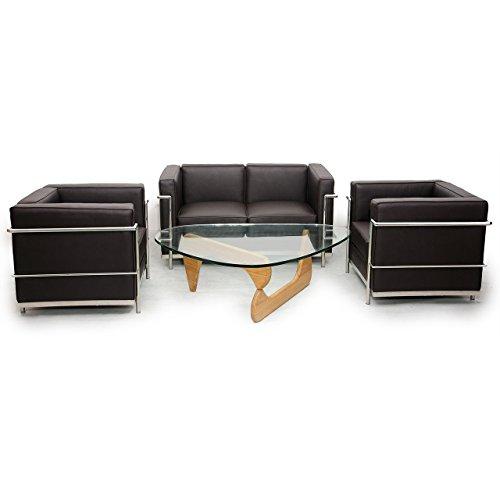 Kardiel Le Corbusier Style LC2 - Juego de sofá y 2 sillas, color marrón