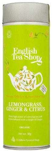 Photo of English Tea Shop Organic Lemongrass Ginger and Citrus Fruits Round Gift Tin – 15 Pyramid Tea Bags