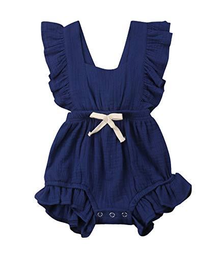 VISGOGO Toddler Baby Girl Ruffled Rompers Sleeveless Cotton Romper Bodysuit Jumpsuit Clothes (0-6 Months, Navy Blue)