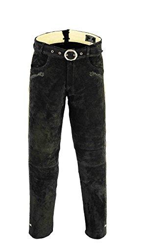 Shamzee Trachten Lederhose lang inklusive Gürtel aus Echtleder in Schwarz Farbe (46, Schwarz)