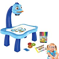 キッズドローイングプロジェクターテーブル、スマートプロジェクターカラードローイングボード付き子供学習デスク男の子と女の子のための教育玩具 (青い)