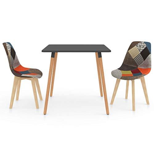 vidaXL Juego de Comedor 3 Piezas Muebles Mobiliario Hogar Cocina Terraza Exterior Silla Mesa Asiento Suave Decoración Moderno con Respaldo Multicolor