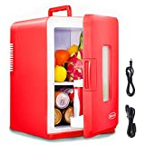 SIMFLAG Mini Fridge with 15 Liter, AC/DC Portable Fridge,Compact Cooler and Warmer Small Refridgerater for Bedroom, Home,Office,Dorm, RV,Travel, Skin Care and Foods Storage (Red)