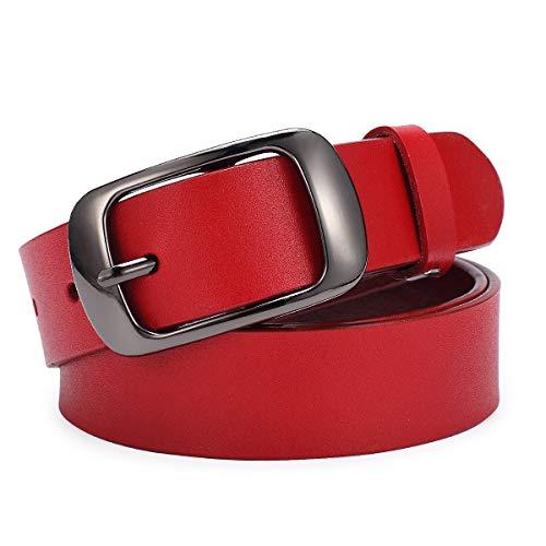"""Cinturón de Cuero Damas Para Mujeres, Niñas, Jeans, Pantalones de Vestir, 1.1 Pulgadas de Ancho (S(27""""-30""""), C:rojo)"""