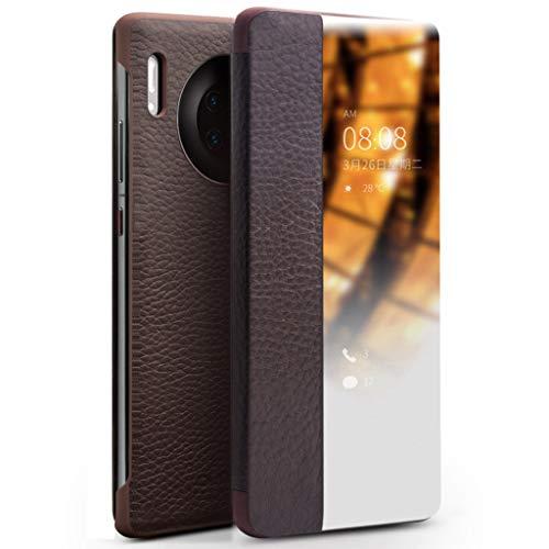 Mking Tech hoogwaardige lederen mobiele telefoon behuizingen voor Huawei Mate30 Pro / Mate30 Flip/automatische slaap/wake/multifunctionele smart phone holster, for Huawei Mate30, Bruin
