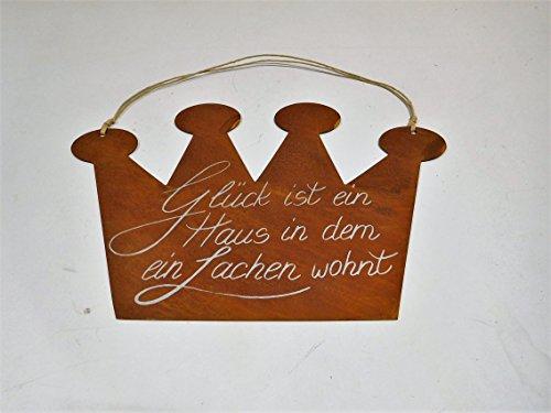 Ziegler Metallschild Edelrost Krone Glück Metall Türschild Metallhänger Spruchtafel Schild Spruch 0943-24 F77