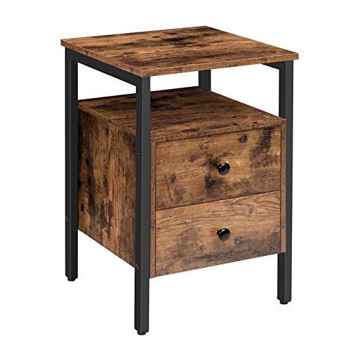 HOOBRO Nachttisch mit 2 Schublade, Nachtschrank mit Ablage, Beistelltisch im Industrie-Design, Nachtkommode, Kaffeetisch, leicht montierbar, Stabiles, für Wohnzimmer, Schlafzimmer, Vintage EBF43BZ01