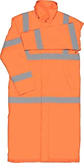 ERB 62036 S163 Class 3 Long Rain Coat Safety Vest, Hi-Viz Orange, Large